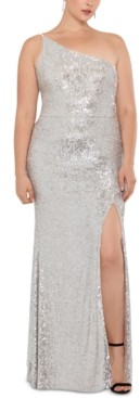 Xscape Evenings Plus Size Sequined One-Shoulder Gown