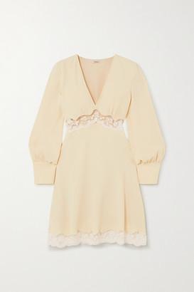 Miu Miu Lace-trimmed Crepe Mini Dress - Cream