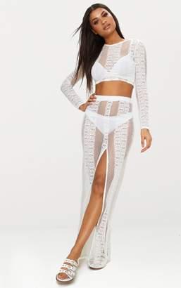 PrettyLittleThing Cream Lace Split Maxi Skirt