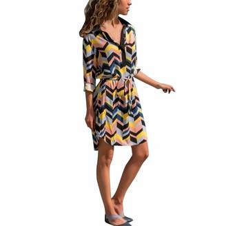 HOOUDO Women's Dress Wave Stripe Print Bandage Evening Party Casual Mini Maxi Beach Dress(M
