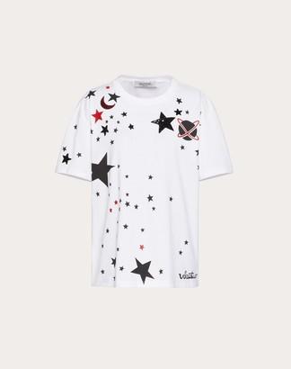 Valentino Embroidered Jersey T-shirt Women White 100% Cotone M
