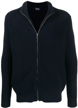 Drumohr Ribbed Knit Zipped Cardigan