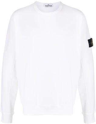 Stone Island Logo Patch Round Neck Sweatshirt