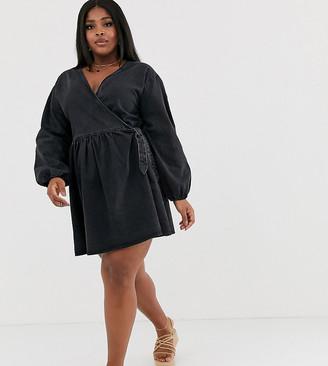 ASOS DESIGN Curve denim wrap smock mini dress in black