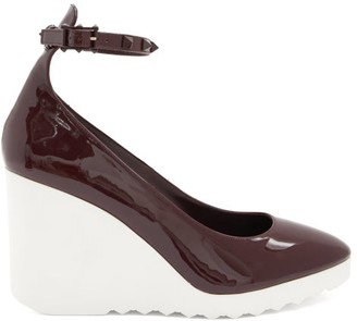 Valentino White Wave Wedge-heel Patent-leather Pumps - Burgundy