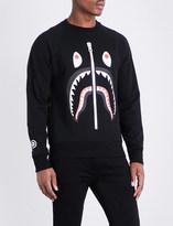 A Bathing Ape Shark-print cotton-jersey sweatshirt