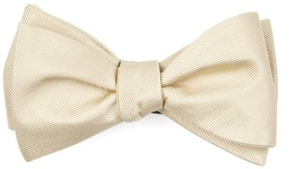 Tie Bar Grosgrain Solid Light Champagne Bow Tie