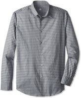 John Varvatos Men's Gray Black Checked Relaxed Fit Dress Shirt, M