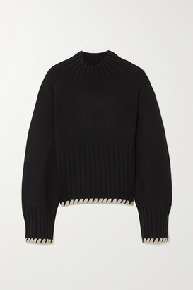KHAITE Colette Whipstitched Ribbed Cashmere Sweater - Black