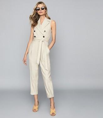 Reiss Lauren - Wool Linen Blend Jumpsuit in Oatmeal