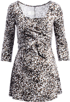 Glam White & Brown Leopard Maternity Wrap Tunic