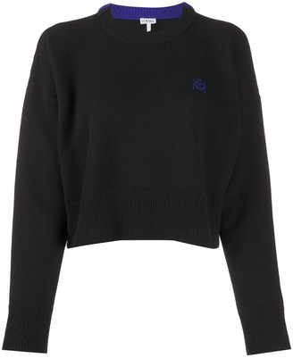 Loewe Cropped Embroidered Logo Jumper