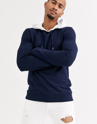Asos DESIGN muscle hoodie in navy with white hood