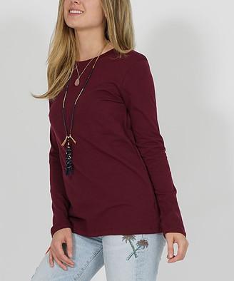 Lydiane Women's Tee Shirts DK.BURGUNDY - Dark Burgundy Crewneck Long-Sleeve Tee - Women & Plus