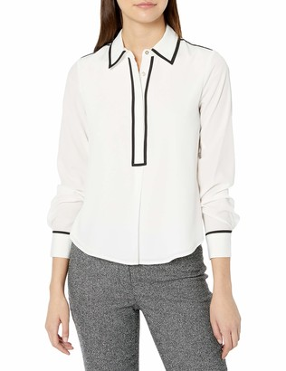 Tommy Hilfiger Women's Collared Button Down Long Sleeve Top with Contrast Trim