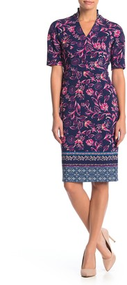 Maggy London Border Print Sheath Dress (Petite)