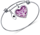 Unwritten Heart Bangle Bracelet in Stainless Steel with Silver-Plated Charms