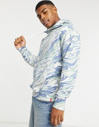 Levi's relaxed fit boxtab logo marble print hoodie in blue