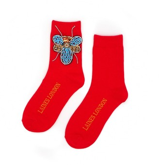 Laines London Red Bamboo Socks With Crystal Bug Brooch