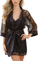 Dreamgirl Black Lace-Sleeve Robe & Chemise Set - Plus Too