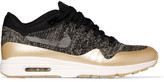 Nike Air Max 1 Ultra 2.0 Metallic Leather-trimmed Flyknit Sneakers - Black