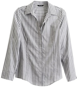 Misook Classic Stripe Button-Up Shirt