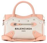 Balenciaga Mini City Belharra Canvas And Leather Shoulder Bag