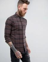 Asos Skinny Check Shirt In Brown
