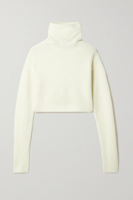 Sally LaPointe Cropped Boucle Turtleneck Sweater - Cream