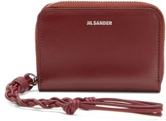 Jil Sander Braided-strap Leather Wallet - Burgundy
