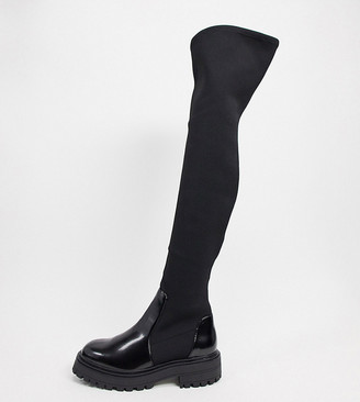 ASOS DESIGN Wide Fit Keeley chunky flat knee boots in black