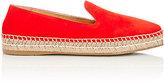 Prada Women's Suede Pointed-Toe Espadrilles-RED