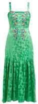 Saloni Karen Floral-jacquard Silk Midi Dress - Womens - Green Multi
