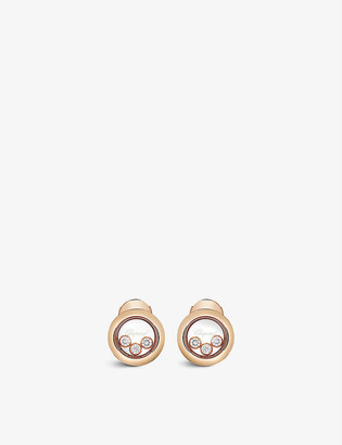 Chopard Happy Diamonds 18ct rose-gold and 0.30ct diamond earrings