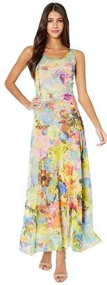 Fuzzi Tank Full-Length Campo Di Fiori Print Dress (Limpido) Women's Dress