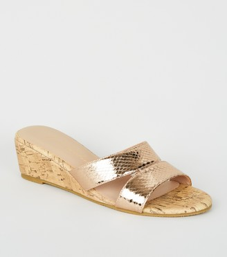 New Look lic Faux Snake Cork Wedge Mules