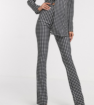 Asos Tall ASOS DESIGN Tall jersey suit slim fit pants in gingham