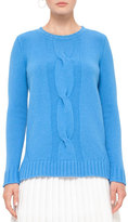 Akris Punto Cable-Knit Crewneck Sweater, Azure