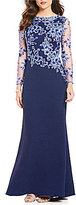 Tadashi Shoji Petite Long Sleeve Embroidered-Bodice Gown