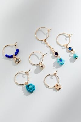 Urban Outfitters Gold-Tone & Blue Beaded Hoop Earrings 6-Pack - Blue ALL at