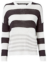 Brochu Walker Zander Oyster-Stripe Pullover Sweater