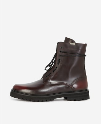 The Kooples Burgundy leather boots with side lace detail