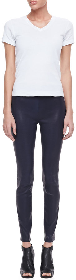 J Brand Jeans Leather Pull-On Leggings, Black Amethyst