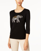 Karen Scott Petite Cotton Elephant Graphic Top, Only at Macy's