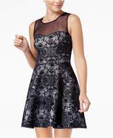 Trixxi Juniors' Flocked Illusion Fit & Flare Dress