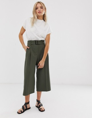 ASOS DESIGN belted culottes in khaki