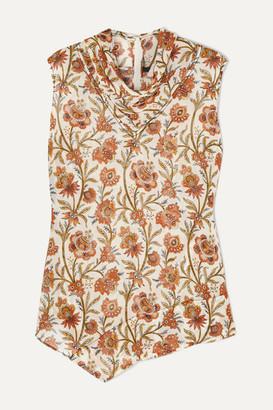 Derek Lam Draped Floral-print Georgette Top - Brown
