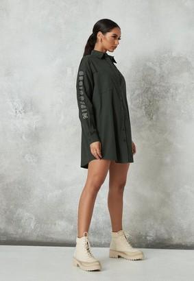 Missguided Khaki Oversized Shirt Dress