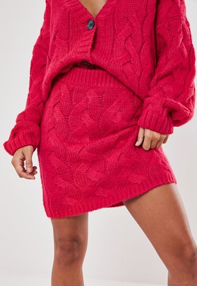 Missguided Pink Co Ord Cable Knit Mini Skirt