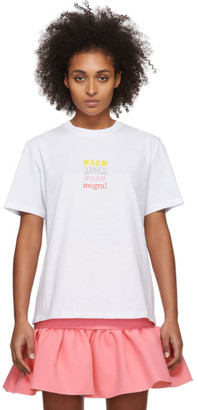MSGM White Rainbow All Logos T-Shirt